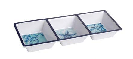 Nantucket Home Coastal Blue Seashells Coral Melamine 3-Sectioned Serving Tray, 15-Inch