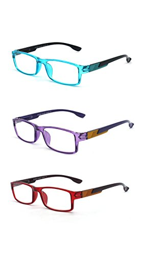 Eye-Zoom 3 Pack Rectangle Fashion Designer Reading Glasses with Spring Hinge ( Blue, Purple and Red, Strength - Shaped Face Rectangle