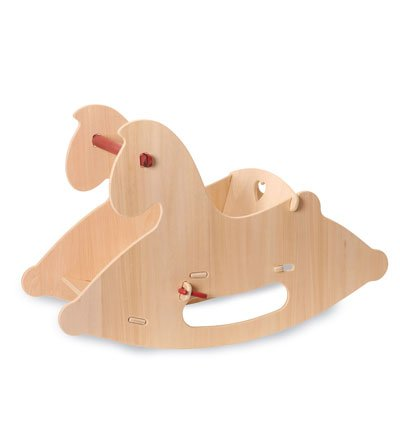 Childs Natural Wood Rocking Horse - Moover Durable and Sturdy Wood Rocking Horse with a Wide Base, in Natural