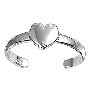 Plain Heart Toe Ring Sterling Silver 925 Adjustable Rhodium Plated Jewelry Gift