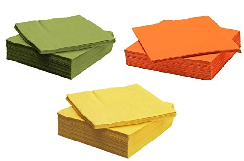 Fantastisk Green, Orange, Yellow Lunch Paper Napkins Set of 150]()