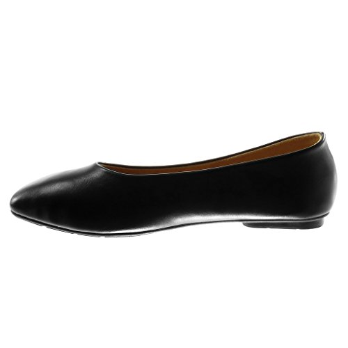 Shoes Fashion Women's on 1 Slip cm Ballet Heel Flat Soft Shoes Black Flat Angkorly qEZTSS