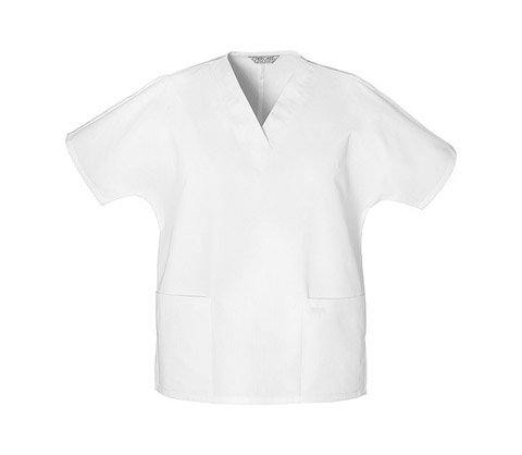 (Two Pocket V-Neck Tunic Scrub Top by Cherokee (WHITE , Medium ))