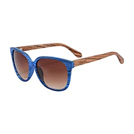 SHINU Wood Frame Sunglasses Mirror Lens Light Bamboo Sunglasses-SH71021 2 Uniquely Handcrafted Wood Sunglasses Never Out of Style. Genuine Wood Bamboo from Sustainable Resources. UV400 Lenses Against Harmful UVA/UVB Rays.