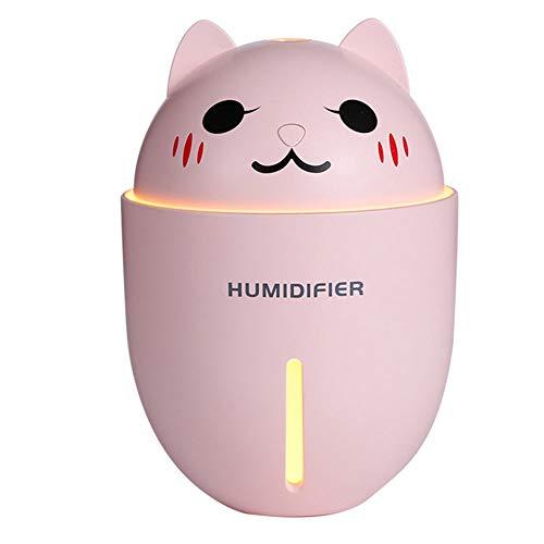 Duoying Aromaterapia Difusor Humidificador Práctico Humidificador con Ventilador Luz Gato Forma USB Luz de Noche de Carga
