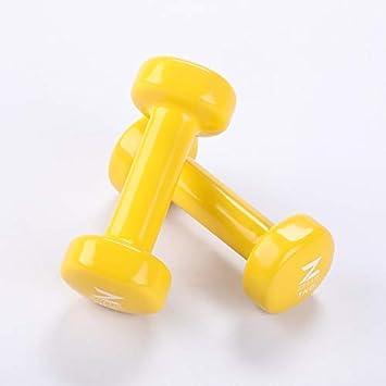Gemeinsa Mancuernas de Hierro Fundido con Revestimiento de Vinilo para Entrenamiento Muscular Fitness Musculación Juego de 2 PCS (Amarillo 1kg): Amazon.es: ...
