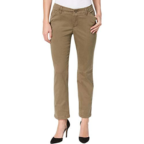 Lee Platinum Label Womens Petites Tailored Fit Mid-Rise Chino Pants Green 8P ()