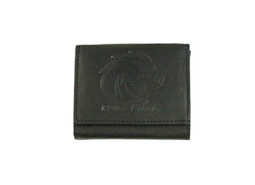(NCAA Boise State Broncos Tri-Fold Leather Wallet, Black)