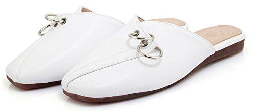 Suede Faux Flat Slip Stylish Mules Toe On White Womens IDIFU Square qXI1nxwgWT