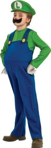 Deluxe Mario and Luigi Costume - Large - Deluxe Luigi Toddler Costumes