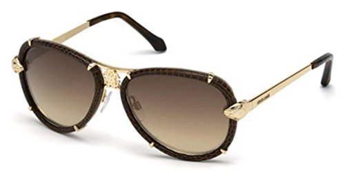 Roberto Cavalli RC885S Mebsuta Sunglasses Brown Leather w/Brown Gradient (28G) RC 885 28G 57mm - Aviator Roberto Cavalli Sunglasses