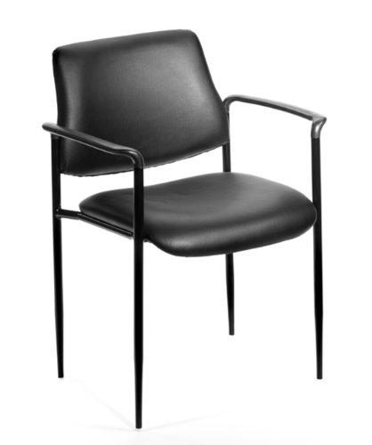 Boss Office Products B9503-CS Square Back Caressoft Dimond Stacking Chair with Arms in Black