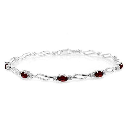 (3.39 Carat 14K Solid White Gold Tennis Bracelet Garnet Diamond)