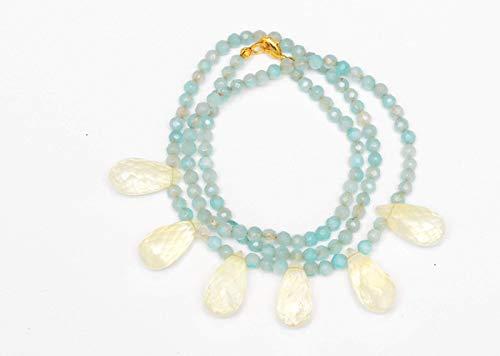 Quartz Green Smoky Necklace (Blue-Green Agate and Smoky Quartz Necklace)