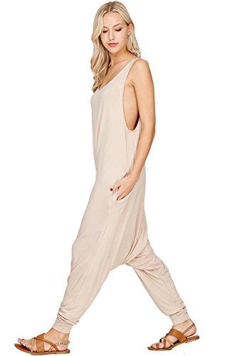 Kaylas Armoire 0249 Womens Rayon Spandex Solid Color Print Sleeveless Harem Jumpsuit Khaki X-Large