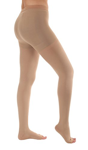 Opaque Open Toe Compression Stockings Women Pantyhose - Absolute Support Opaque Medical Graduated Support Pantyhose 20-30mmhg Absolute Support SKU A214BE3 - Beige, Large Support Stockings