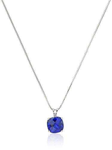 Sterling Silver Cushion-Cut Checkerboard Created Blue Sapphire Pendant Necklace (8mm) ()