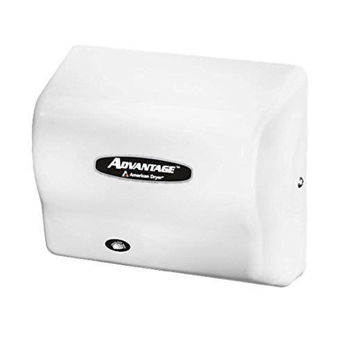 American Dryer AD90 Advantage ABS Standard Automatic Hand Dryer, 1/8 HP Motor, 100-240V, 5-5/8'' Length x 10-1/8'' Width x 9-3/8'' Height, White