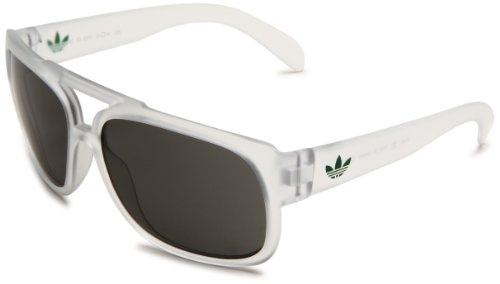 adidas Ah30-6053 Toronto Rectangle Sunglasses, Matte Transparent Frame/Green Lens, - Eyewear Toronto