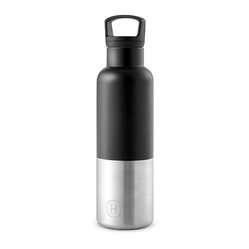 HYDY Vacuum Insulated Thermal Water Bottle 20 Oz - BPA Free Stainless Steel - Eco Friendly - Ideal for Exercise, the Office and Travel - Modern Stylish Urban Design (BLACK)