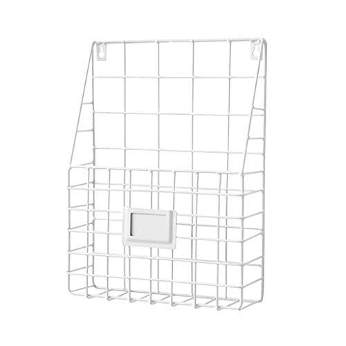 ♚Rendodon♚ Storage Rack, House Storage, Simple Wrought Iron Grid Newspaper and Magazine Storage Rack, Simple Iron Wall-Mounted Hanging Rack Magazine Newspaper Storage Shelf Organizer (White)