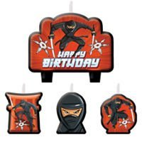 Ninja Birthday Cake Candles 4 count Party Supplies -