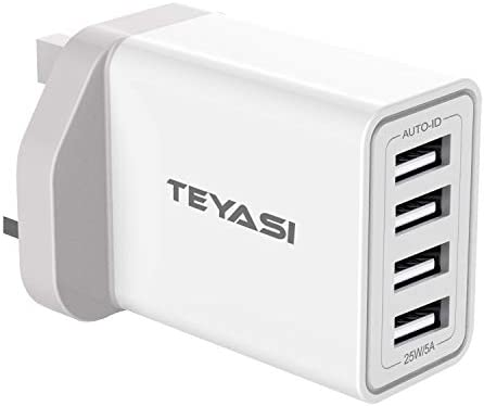 TEYASI USB Plug Charger,Multi USB Fast Charging Plug Adaptor UK 5A4 Port Wall Charge Mains Compatible with iPhone SE2020 XS XR X 8 Plus 7 6 6s Plus