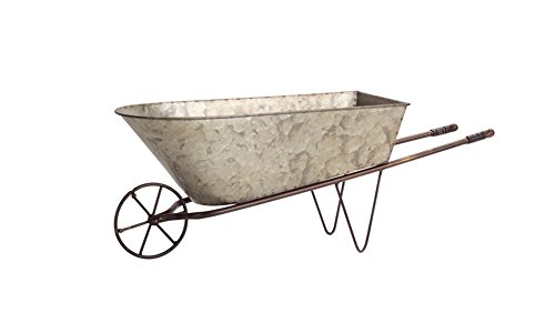 Diva At Home Set of 2 Country Rustic Galvanized Metal Wheelbarrow Planters 20.5'' by Diva At Home