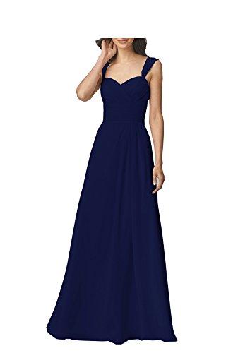 Beauty Bridal Women's A Line Long Chiffon Prom Bridesmaid Dresses Wedding Party Dress S022 (22W,Navy Blue)