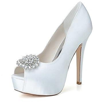 0405d99c680c Wuyulunbi  Damenschuhe Satin Frühling Sommer Basic Pumpe Hochzeit Schuhe  Peep Toe Strass für Hochzeit Party