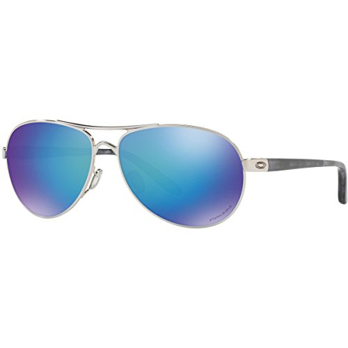 Oakley Women's Metal Woman Polarized Aviator Sunglasses, Polished Chrome, 59 - Sunglass Oakley Hut