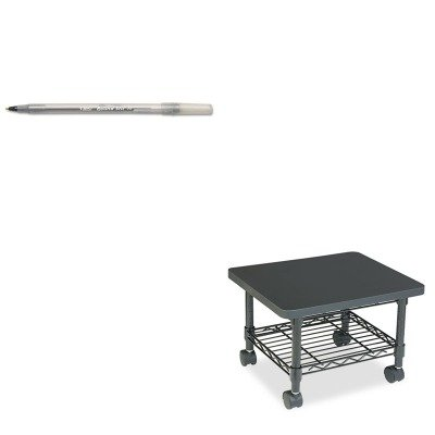 (KITBICGSM11BKSAF5206BL - Value Kit - Safco Underdesk Printer/Fax Stand (SAF5206BL) and BIC Round Stic Ballpoint Stick Pen (BICGSM11BK))
