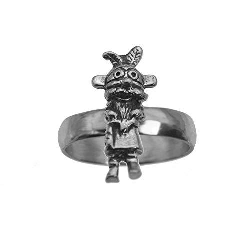 Spirit Kachina Doll - prince of diamonds Tribal American Kachina Doll Spirit Feather Sterling Silver 925 Jewelry Ring