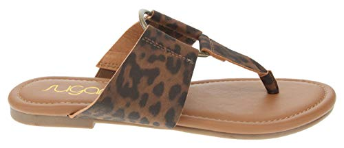 Sugar Women's Pacific Flat Thong Sandal with Ring Hardware Leopard 9.5