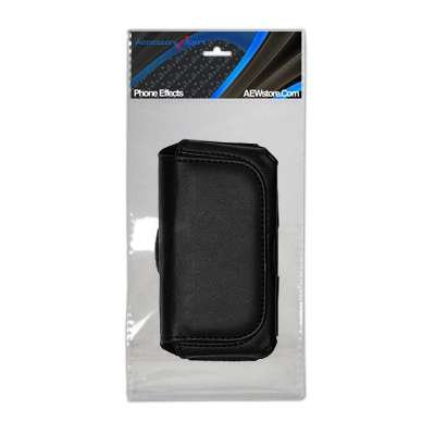 Executive Black Horizontal Leather Side Case Pouch with Belt Clip and Belt Loops for Verizon LG VX-9200 ENV3, ENV 3, VX9200 Phone [Perfect Fit by Accessory Export]
