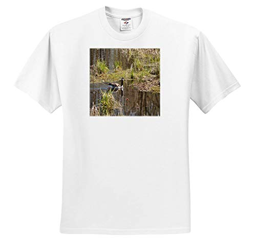 (3dRose Dreamscapes by Leslie - Birds - Canadian Goose Swimming with Reflection - Youth T-Shirt XS(2-4) (ts_314235_11) White)