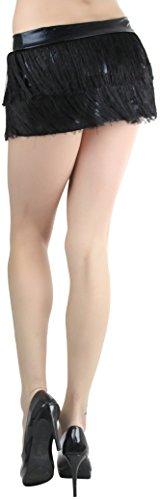 (ToBeInStyle Women's Fringed Mini Skirt With Lame Waist Band - Black)