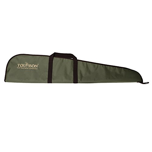 TOURBON Hunting Nylon Rifle Case Gun Bag with Adjustable Shoulder Strap (Green with Brown Trim, 48 inch)