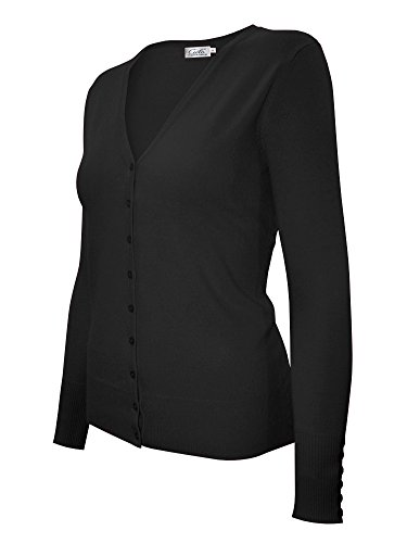 Cielo Women's Knit Silk Soft Cardigan Sweater, V-neck (Large, SW205 Black)