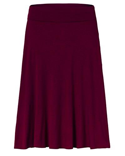 Amie Finery Knee Length Midi Skirt A Line Flared Swing Fold Over Skirt For Women Made In USA Small Raisin