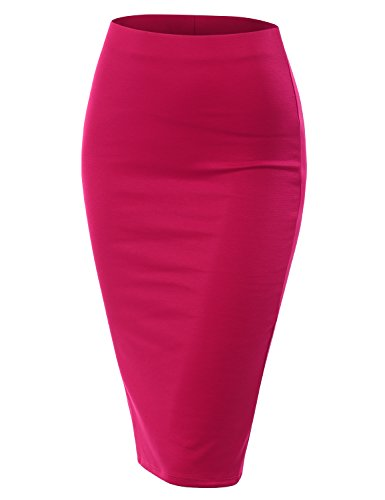 CLOVERY Women's Lighweight Fabric Office Wear Premium Hyper Stretch Scuba Oversize Skirt Fuchsia XL Plus ()