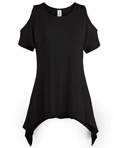 Asymmetric Hem Cold Shoulder Tunic Tops, 002-Black, US L