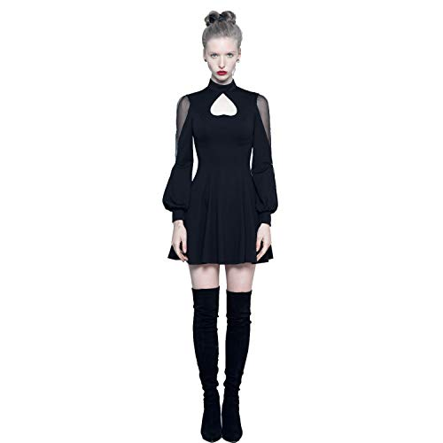 Punk Pave Women Black Gothic Vintage Heart Shape Daily Wear Short Dress (XS)