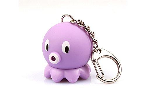 Conveniente LED Light Lovely Octopus Animal Sound Portachiavi Super Bright (Viola) per la Decorazione Sunnyshinee