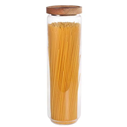 77L Glass Storage Jar, 52.13 FL OZ (1543 ML), Glass Storage Jar with Sealed Wooden Lid, Clear Food Storage Jar for Storing Spaghetti, Rice, Pasta and More
