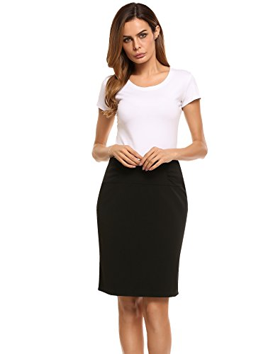(Women's Petite High Waisted Stretch Pencil Skirt with Shirred Waist Four Button Detail)