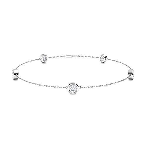 Diamondere Natural and Certified Diamond Chian Bracelet in 14K White Gold | 0.33 Carat Bracelet for Women, Length - 7.25 inch