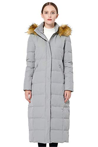 Orolay Women's Maxi Puffer Down Coat with Faux Fur Hood Grey L