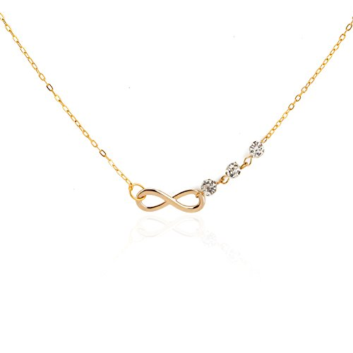 MNEFEL Diamond Golden Infinity Figure 8 (Figure Eight Gold Necklace)