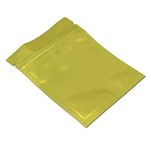 100Pcs 14x20cm (5.5x7.9 inch) Gold Aluminum Mylar Foil Packaging Bags Zip Lock Food Long Term Storage Resealable Storage Pouch Retail by FERENLI (Image #2)